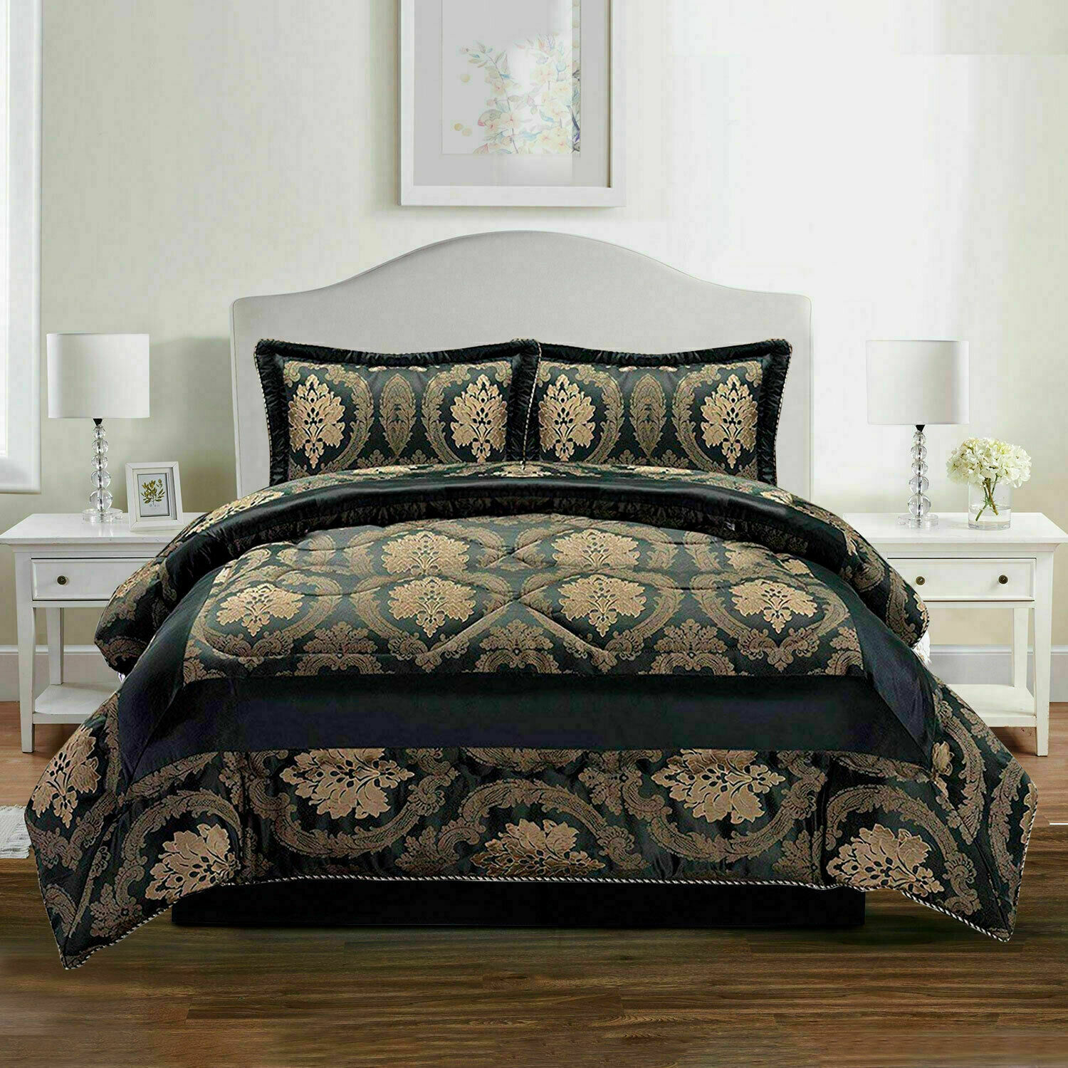 Luxury 3 Piece Quilted Jacquard Bedspread Single Double King Size Comforter Set