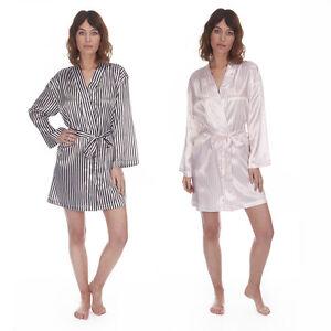 3a971d0334 La imagen se está cargando Mujer-Sexy-Saten-Rayas-Kimono-Tiras-corto-Bata-