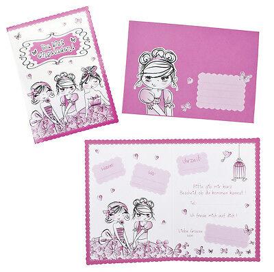 8 Einladungskarten Mit Briefkuvert Mädchen Kindergeburtstag Rosa Klappkarten