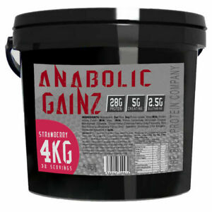 SERIOUS ANABOLIC GAINZ 4KG - Mass Gainer Protein Powder + Muscle Fuel (Straw)