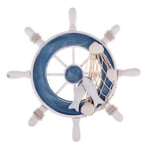 "9"" Wooden Boat Ship Wheel Rudder Nautical Decoration Beach Wall Hanging Decor"