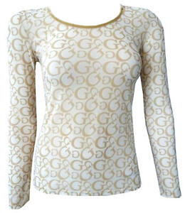 Maglia-Guess-maniche-lunghe-T-shirt-trasparente-transparent-Long-sleeves-donna