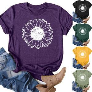 Womens-Summer-Short-Sleeve-T-Shirt-Blouse-Ladies-Loose-Print-Basic-Tee-Tops-UK