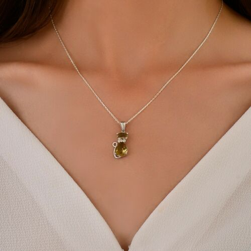 Handgemacht 925 Damen Sterling Silber Halskette mit Zultanite Steinen