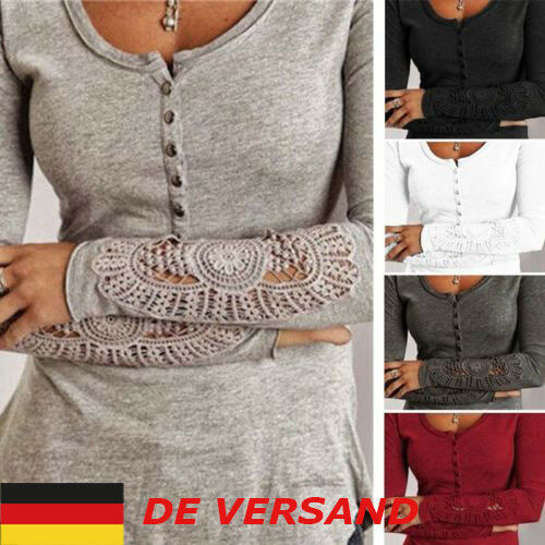 Damen Bluse Tunika Pullover Strickshirt Sweatshirt Langarm Spitze Knopf Gr.34-50