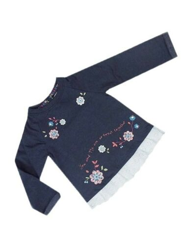 "GIRLS BABY KIDS /""EX F/&F/"" LONG SLEEVE SWEAT TOP FLORAL DESIGN AND DETAILED HEM"