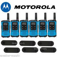 Motorola Talkabout T100 Walkie Talkie 6 Pack Set 16 Mile Two Way Radios Blue