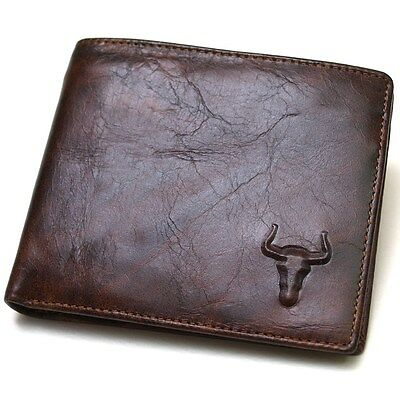 Mens Genuine Leather Wallet ZIPPER COIN Purse ID Photo Holder Vintage Cowboy