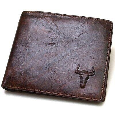 Mens Genuine Leather Wallet ZIPPER COIN Purse ID Photo Holder Vintage Cowboy