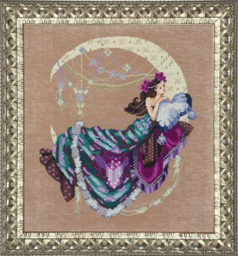 Moon Flowers Mirabilia Designs//Nora Corbett chose chart//embellishments
