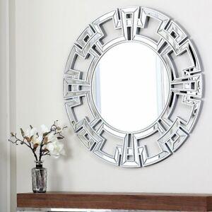 Round Wall Mirror Silver Glass Modern Large Decorative Home Hanging Circle Decor Ebay