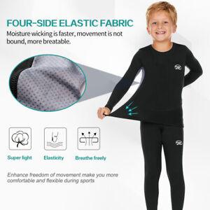 Kids Thermal Underwear Set Boys Thermal Shirt and Leggings Girls Long Johns Winter Fleece Base Layer