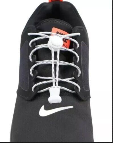 No Tie Shoelaces Elastic Lock Shoe Laces White//Black