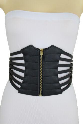 Women Zipper Wide Stretch Corset Black Belt Hip High Waist Dressy Style Size M L