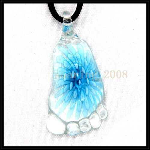 12 Pcs Lovely pieds cristal Murano Art Glass Beaded Cuir Collier Pendentif