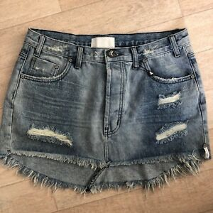 52ce19db33 One Teaspoon Skirt 24 27 29 Ripped BLUE Rocky Jeans JUNKYARD Mini ...