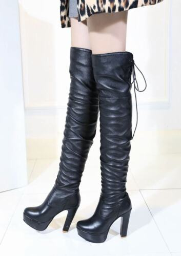 Women Platform Block Heels Side Zip Slouch Top Lace Up Over The Knee Boots Shoes
