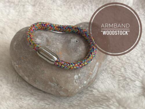"""Segeltau Armband matt Women /& Kids /""""Woodstock/"""" 6mm Edelstahl Magnetverschluß"""