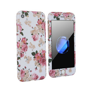 newest collection d969e 38a1f Details about Flower 360° Protector Hard Case Cover Tempered Glass for  iPhone 7 Plus 6 6s
