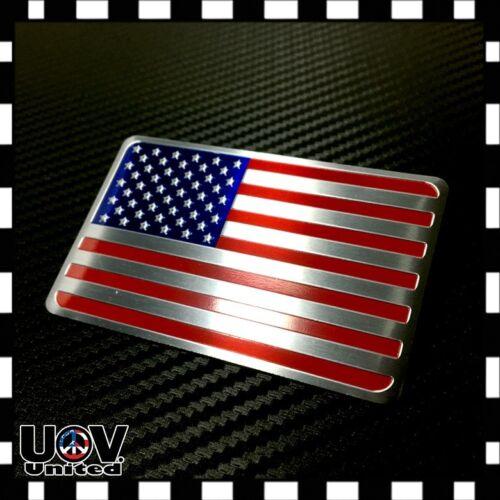 USA America United States Flag Aluminium Tuned by Side Rear Badge Emblem Sticker