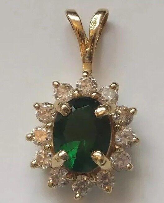 14ct gold Emerald and Diamond Replica Pendant