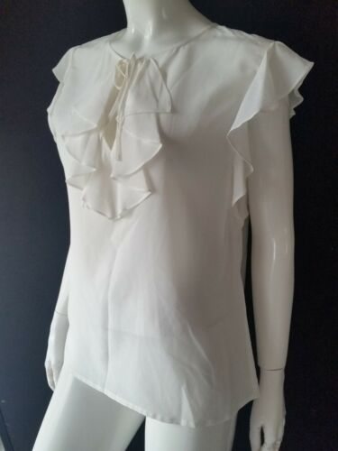 Uk14 Increspature Con Seta 42 Top Bianco Hallhuber Donna Gr Nuovo wIqT8p7Xx