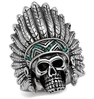 Mens Indian Skull tribal Stainless Steel Green Ring Size 8 9 11 P R V LTK2245E