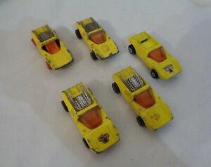 5x-VINTAGE-MATCHBOX-No-1-MOD-Rod-1971-Giallo