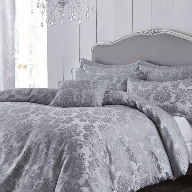 Catherine Lansfield Silver Damask Jacquard Superking Size Duvet Set