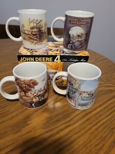 John Deere Nostalgic Collector's Coffee Mugs Cups ~ Set of 4 ~ 11oz By Gibson