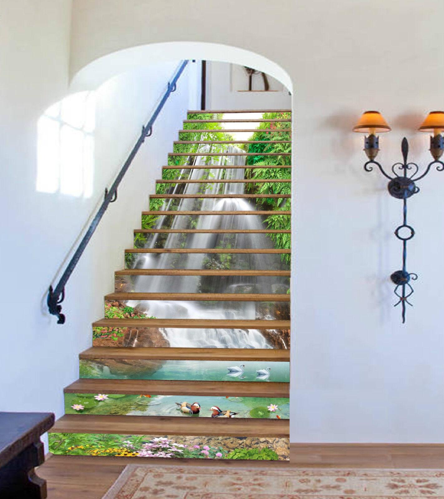 3D Wasserfall 2569 Stair Risers Dekoration Fototapete Vinyl Aufkleber Tapete DE