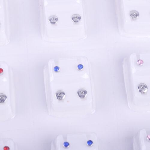 12 coloré Cristal Boucles d/'oreilles Clou Strass bijoux Piercing Gun Ear Studs