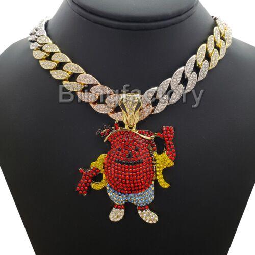 "Hip Hop Kool Aid Man pendant /& 18/"" Iced out Multi Colored Cuban Choker Chain"