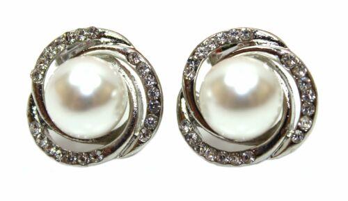 Remolino de cristal y perla pendientes de clip en placa de plata