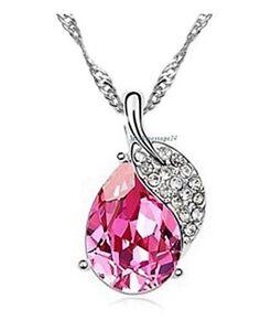 Halskette-Anhaenger-Blattform-Kordelkette-Weissgold-plattiert-Kette-Geschenk-Damen