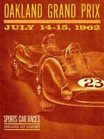 Vintage 1962 Oakland Grand Prix Auto Racing Poster Print 36x27
