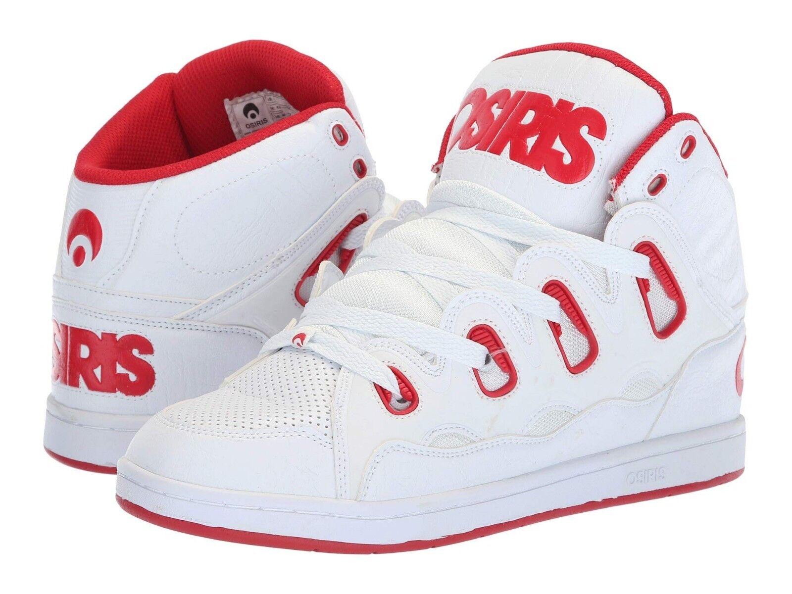 hommes OSIRIS D3H SKATEBOARDING Chaussures NIB blanc rouge blanc
