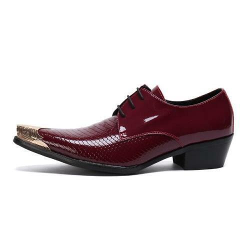 Mens Metal Pointy Toe Party Low Top Real Leather Business Leisure Shoes 38-46 L