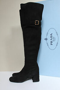 5579d94d9c1 New sz 6.5   37 Prada Black Suede Over the Knee Tall 2 1 2