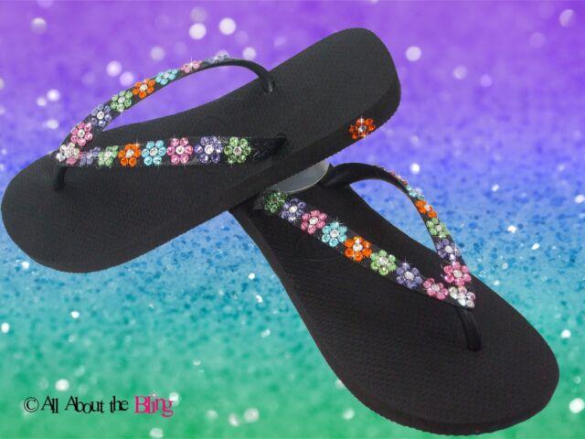 79b00b8dddd29 HAVAIANAS flip flops with SWAROVSKI CRYSTALS rhinestone daisy flower chain  BRIDE