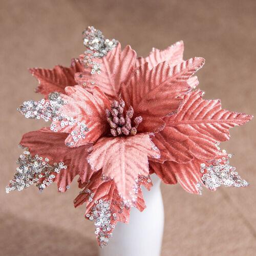 Glitter Decor Flowers Ornament Christmas Tree Xmas Artificial Flower Gift