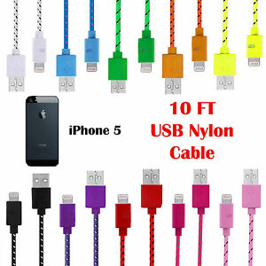 10ft iphone 5 charger 10ft iphone 5 usb charger cable durable fabric 3422
