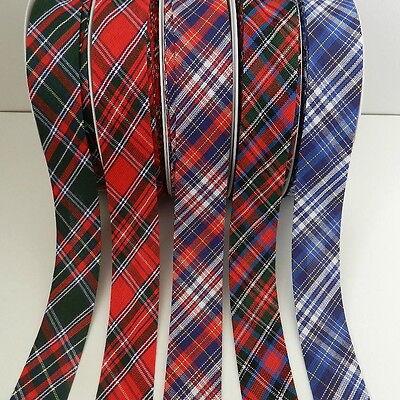 per 4 metres Rustic gingham bias binding 25mm blue green red yellow cotton