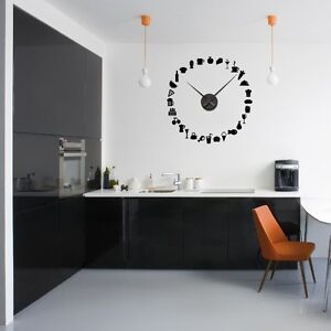 sticker mural horloge g ante fruits legumes patisseries avec m canisme aiguilles ebay. Black Bedroom Furniture Sets. Home Design Ideas