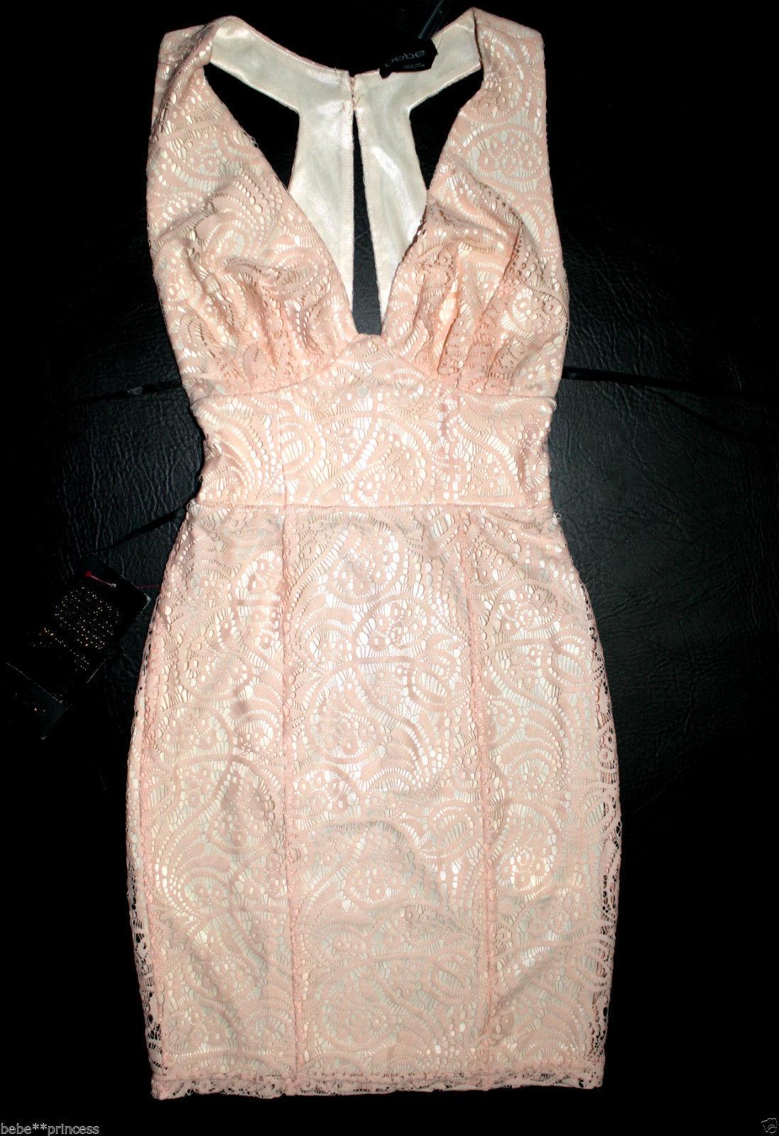 NWT bebe coral Rosa overlay lace deep v neck cutout top dress S Small 6