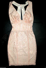$140 NWT bebe coral pink overlay lace deep v neck cutout back top dress XS S 4