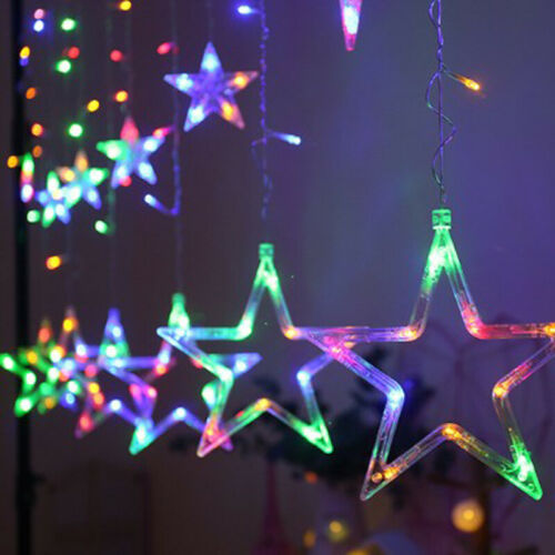 Details about  /2.5M Twinkle Star Curtain Window LED Fairy String Lights Christmas Wedding Party