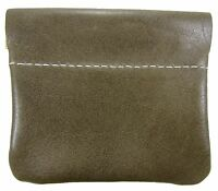 Leather Squeeze Coin Pouch Usa Made, Olive