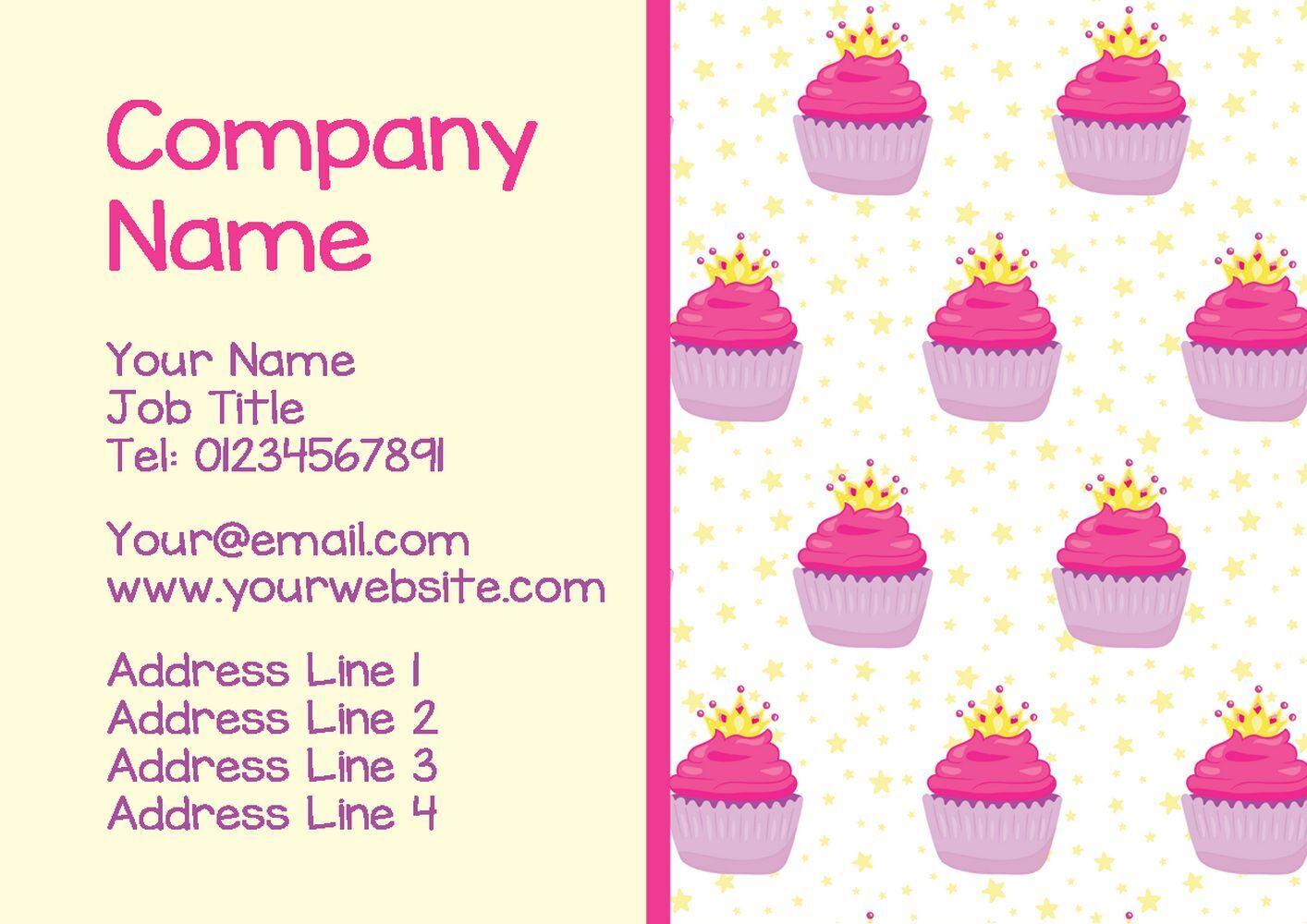 Rose cartes et jaune Cupcakes cartes Rose de visite personnalisées 59ecf2