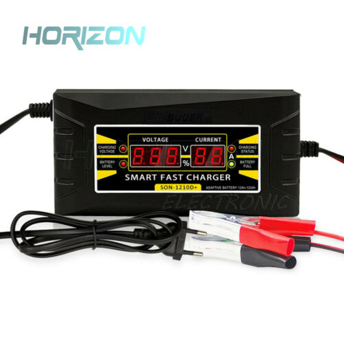 12V 6A 10A Smart Fast Lead-acid Battery Charger for Car Motorcycle LCD Display